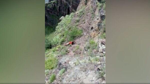 Последнее селфи: сорвавшуюся с 50-метровой скалы женщину сняли на видео - Sputnik Армения