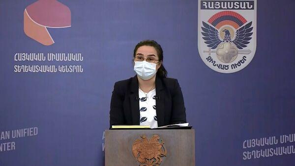 Пресс-секретарь МИД Анна Нагдалян во время брифинга по теме ситуации на армяно-азербайджанской границе (18 июля 2020). Иджеван - Sputnik Արմենիա
