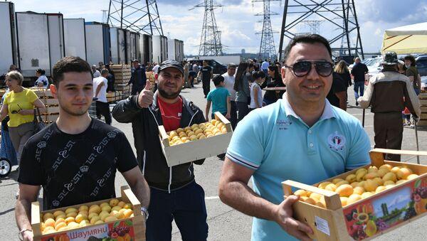Мужчины несут ящики с абрикосами в торговом комплексе Бухта в Москве - Sputnik Армения