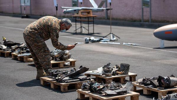 Минобороны показало обломки и захваченные азербайджанские беспилотники (21 июля 2020). Еревaн - Sputnik Արմենիա