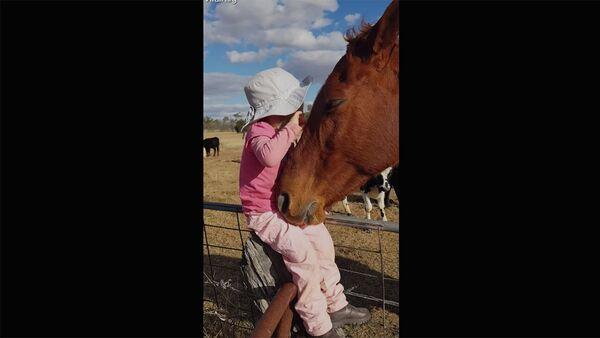 3-летний ребенок поет для лошади - Sputnik Արմենիա