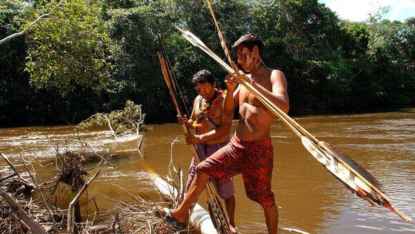 Два воина Синта Ларга приготовили свои луки у реки Рузвельт перед встречей с представителями СМИ в штате Рондония (21 апреля 2004). Бразилия - Sputnik Армения