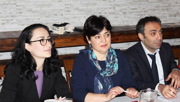 Национальный уполномоченный по вопросам озона Лиана Каграманян (в центре) во время совещания по сохранению Озонового слоя (24 декабря 2018). Еревaн - Sputnik Արմենիա