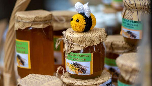 Банки с натуральным медом и игрушечной пчелой - Sputnik Армения
