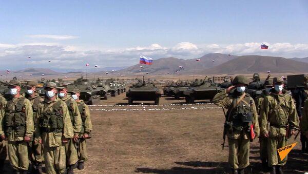 Церемония поднятия государственных флагов участников СКШУ «Кавказ 2020» состоялась в Армении - Sputnik Արմենիա