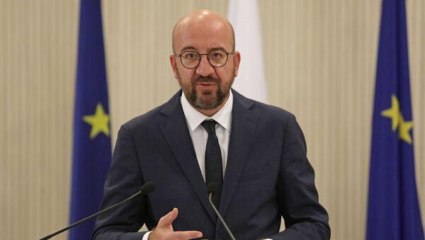 Председатель ЕС Шарль Мишель выступает во время совместной пресс-конференции с президентом Кипра (16 сентября 2020). Никосия - Sputnik Армения