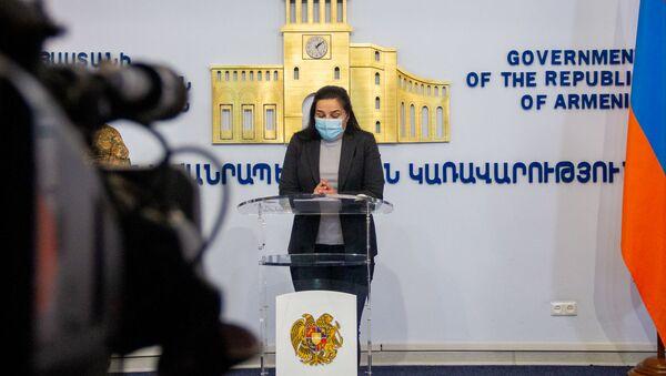 Анна Нагдалян на брифинге с участием Арцруна Ованнисяна (27 сентября 2020). Еревaн - Sputnik Արմենիա