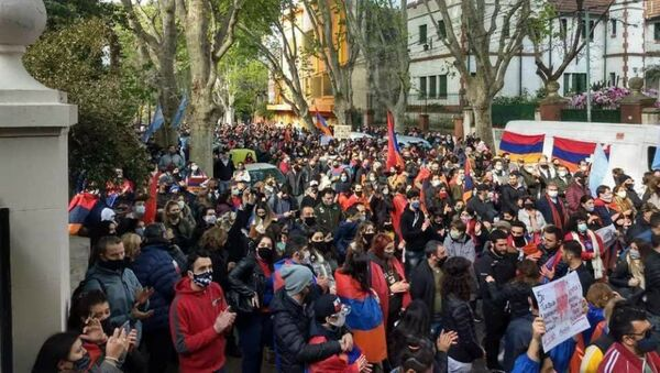 Акция протеста возле посольства Турции в Аргентине (4 октября 2020). Буэнос-Айрес - Sputnik Արմենիա