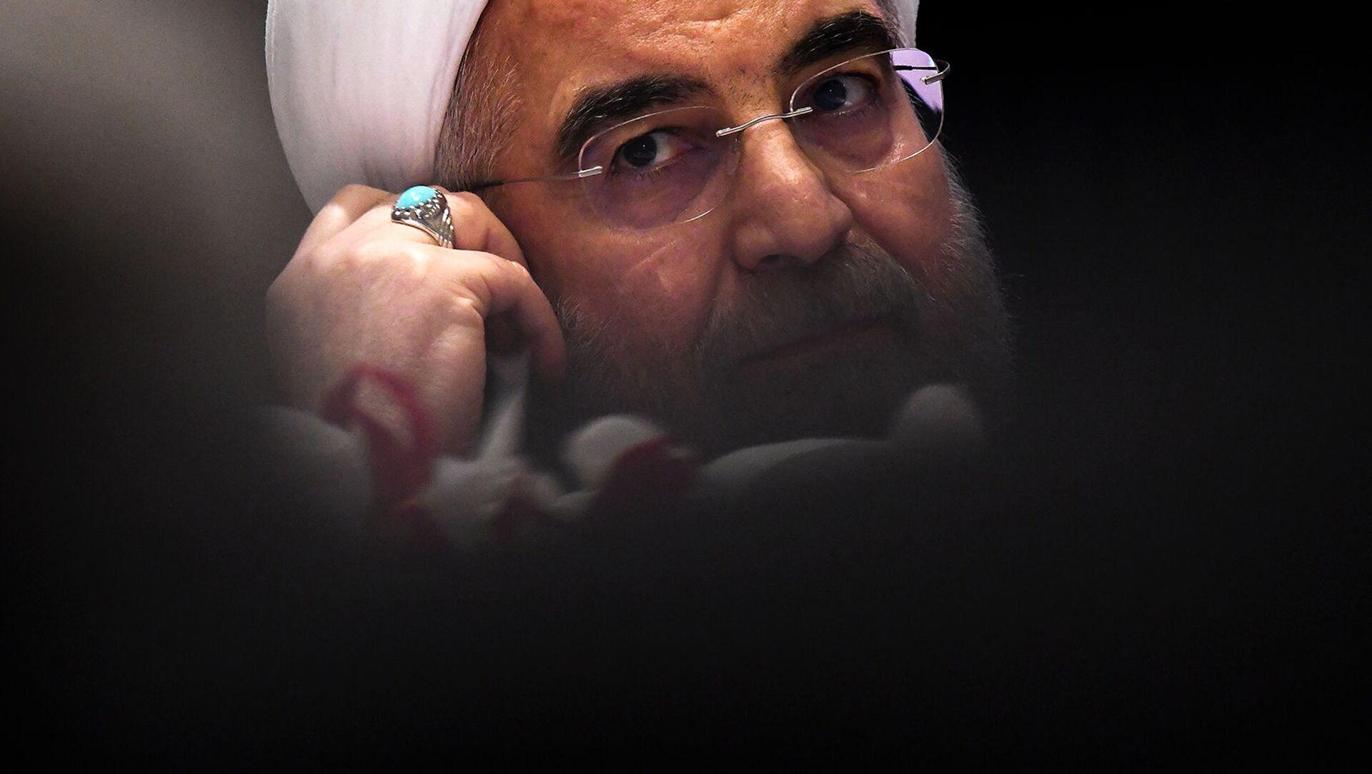 Президент Ирана Хасан Роухани на пресс-конференции в преддверии 72-й сессии Генеральной Ассамблеи ООН (20 сентября 2017). Нью-Йорк - Sputnik Армения, 1920, 20.05.2021
