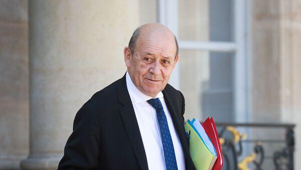 Министр иностранных дел Франции Жан-Ив Ле Дриан покидает Елисейский президентский дворец после еженедельного заседания кабинета министров (27 мая 2020). Париж - Sputnik Արմենիա
