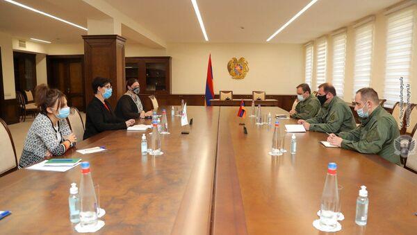 Министр обороны Давид Тоноян принял делегацию во главе с главой делегации МККК в Армении Клэр Метро (10 октября 2020). Еревaн - Sputnik Армения