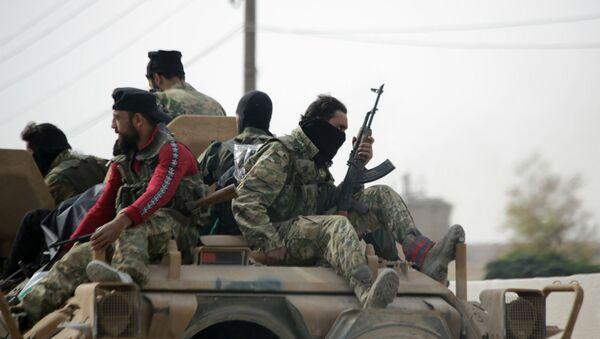 Поддерживаемые Турцией сирийские боевики в городе Айн аль-Арус (14 октября 2019). Сирия - Sputnik Արմենիա