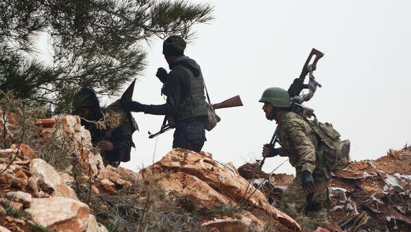 Сирийские боевики в районе горы Берсая к северу от сирийского города Азаз (22 января 2018). Сирия - Sputnik Արմենիա