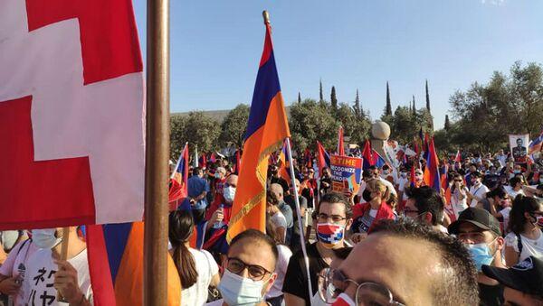 Армяне Израиля организовали акцию перед зданием МИД  (22 октября 2020). Иерусалим - Sputnik Արմենիա