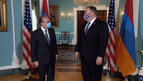 Встреча министра иностранных дел Армении Зограба Мнацаканяна и государственного секретаря США Майка Помпео (23 октября 2020). Вашингтон - Sputnik Արմենիա