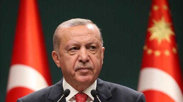 Президент Турции Реджеп Тайип Эрдоган выступает на  заседании кабинета министров в Анкаре (10 августа 2020). Турция - Sputnik Արմենիա