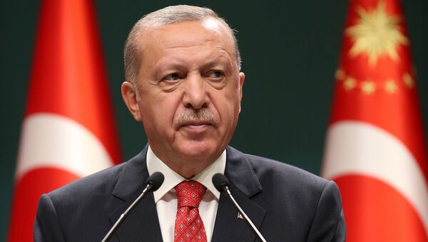 Президент Турции Реджеп Тайип Эрдоган выступает на  заседании кабинета министров в Анкаре (10 августа 2020). Турция - Sputnik Армения