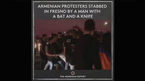 Армяне подверглись нападению во время мирной демонстрации во Фресно (29 октября 2020). США - Sputnik Արմենիա
