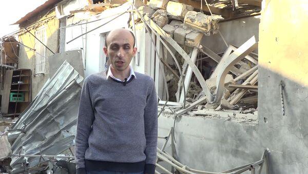 Кадр из видеообращения защитника прав человека Карабаха Артака Бегларяна после обстрелов рынка Степанакерта (31 октября 2020). Карабах - Sputnik Армения