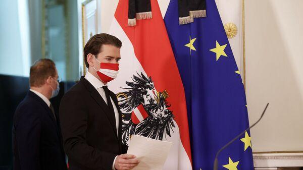 Канцлер Австрии Себастьян Курц проводит пресс-конференцию после перестрелки в Вене (3 ноября 2020). Австрия - Sputnik Արմենիա