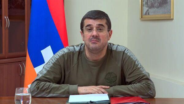 Президент Карабаха Араик Арутюнян в прямом эфире обратился к гражданам Карабаха (11 ноября 2020). Карабах - Sputnik Армения