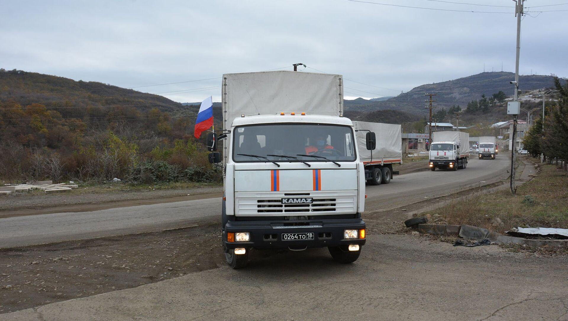 Гуманитарная помощь от МЧС России доставлена в Карабах (21 ноября 2020). Карабах - Sputnik Արմենիա, 1920, 30.08.2021