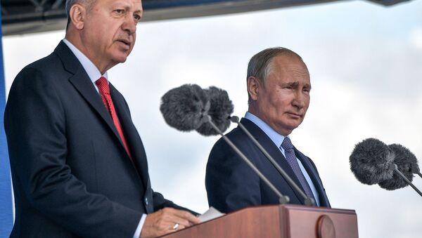 Президенты России и Турции Владимир Путин и Реджеп Тайип Эрдоган выступают с совместной речью (27 августа 2019). Подмосковье - Sputnik Արմենիա