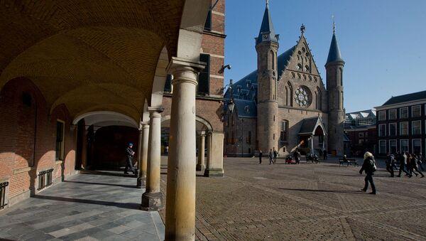 Рыцарский зал (справа), находится среди зданий парламента и Сената на Бинненхофе в Гааге, Нидерланды - Sputnik Արմենիա