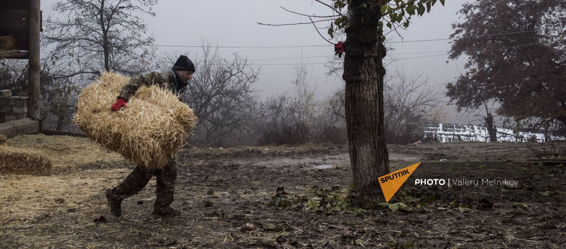 Արցախի Մարտունու շրջանի Թաղավարդ գյուղում տղամարդը տեղափոխում է չոր խոտը - Sputnik Արմենիա, 1920, 16.12.2020