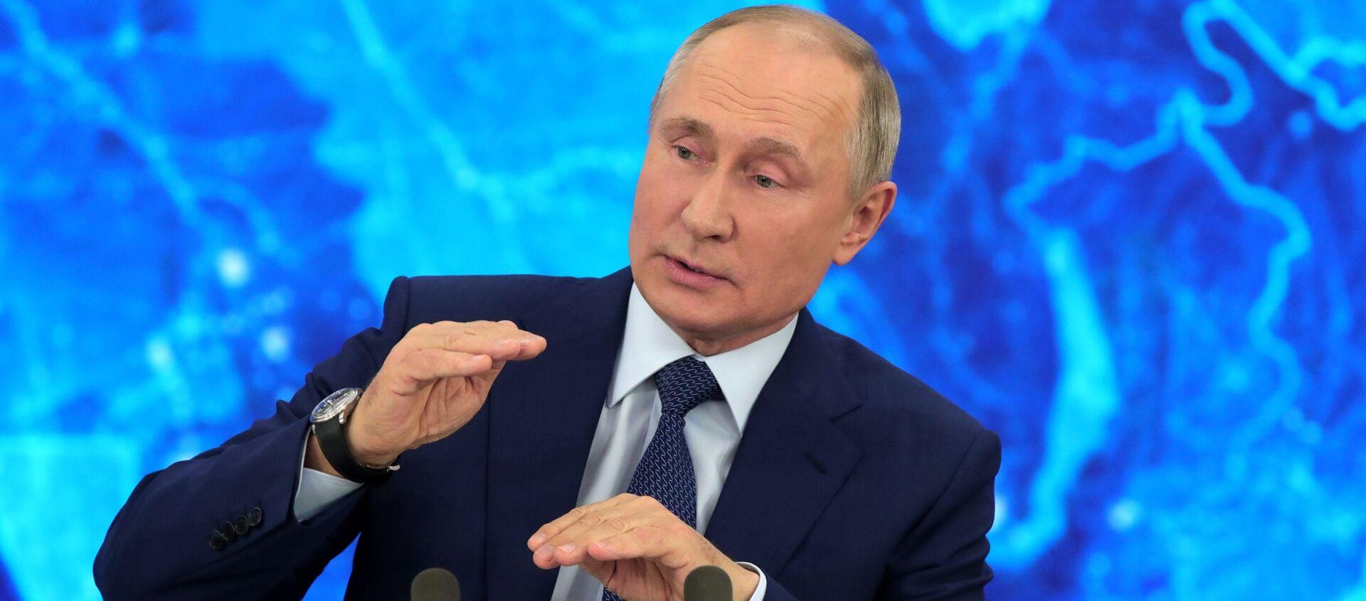 Президент РФ Владимир Путин на большой ежегодной пресс-конференции в режиме видеоконференции (17 декабря 2020). Москва - Sputnik Արմենիա, 1920, 01.07.2021