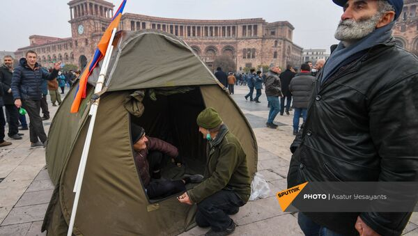 Палатки оппозиции на площади Республики (22 декабря 2020). Ереван - Sputnik Արմենիա
