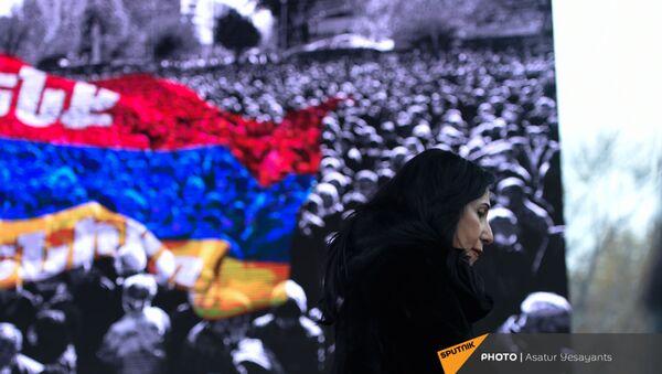 Член партии Процветающая Армения Наира Зограбян на митинге оппозиции (22 декабря 2020). Еревaн - Sputnik Армения