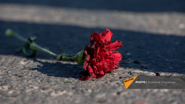 Цветок на асфальте во время Шествия памяти в Ераблур (19 декабря 2020). Еревaн - Sputnik Արմենիա