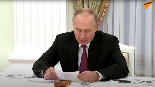 Президент РФ Владимир Путин во время трёхсторонних переговоров (11 января 2021). Москва - Sputnik Արմենիա