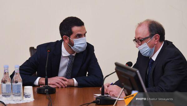 Глава МИД Армении Ара Айвазян (справа) и председатель комиссии по внешним связям Рубен Рубинян на заседании Парламента (14 января 2021). Еревaн - Sputnik Արմենիա