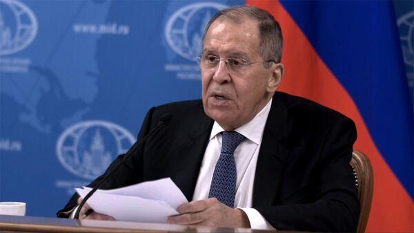 Глава МИД РФ Сергей Лавров на онлайн пресс-конференции (18 января 2021). Москва - Sputnik Армения