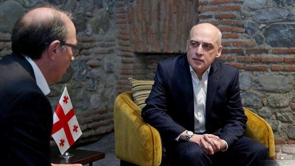 Министры иностранных дел Армении и Грузии Ара Айвазян и Давид Залкалиани на встрече (22 января 2021). Грузия - Sputnik Արմենիա