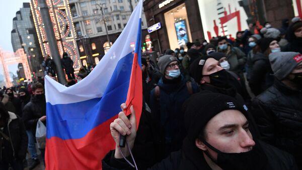 Участники несанкционированной акции сторонников Алексея Навального в Москве.  - Sputnik Արմենիա