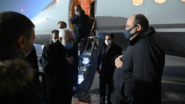 Замминистра иностранных дел Армении Гагик Галачян встречает министра иностранных дел Ирана Мохаммада Джавада Зарифа (26 января 2021). Еревaн - Sputnik Արմենիա