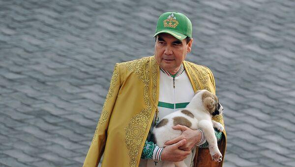 Президент Туркменистана Гурбангулы Бердымухамедов держит туркменскую овчарку, местно известную как Алабай, во время празднования Дня лошади (28 апреля 2018). Ашхабад - Sputnik Արմենիա