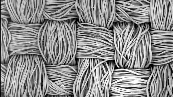 Волокна маски из полиэстера под микроскопом - Sputnik Армения