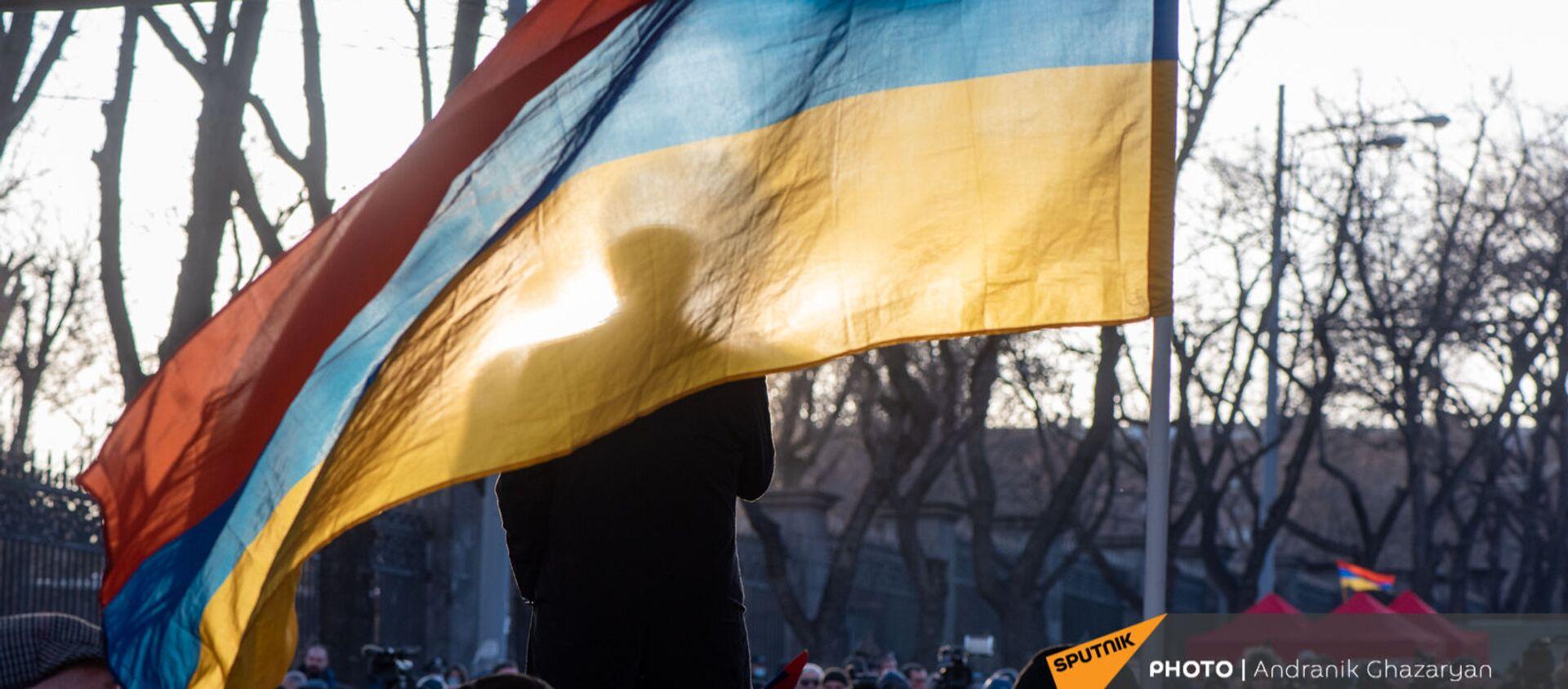 Вазген Манукян за флагом на митинге оппозиции (9 марта 2021). Еревaн - Sputnik Армения, 1920, 06.05.2021