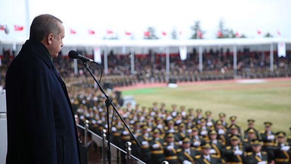 Президент Турции Реджеп Тайип Эрдоган наблюдает за военным парадом в Военной академии (23 ноября 2017). Анкарa - Sputnik Армения