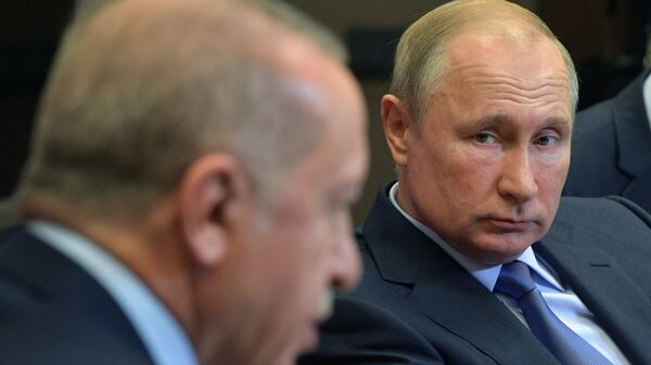 Президенты России и Турции Владимир Путин и Реджеп Тайип Эрдоган во время встречи (22 октября 2019). Сочи - Sputnik Արմենիա