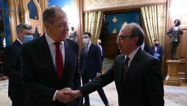 Встреча министров иностранных дел Армении и России Ара Айвазяна и Сергея Лаврова (1 апреля 2021). Москвa - Sputnik Армения
