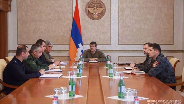Президент Карабаха Араик Арутюнян провел совещание по вопросам обеспечения внутренней безопасности республики (5 апреля 2021). Степанакерт - Sputnik Արմենիա