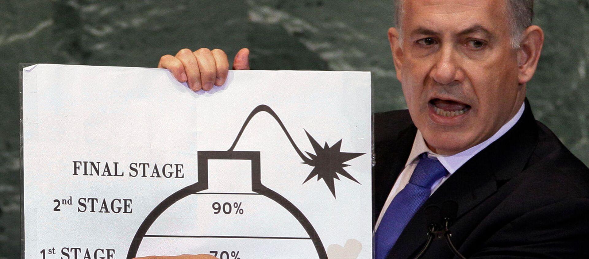 Премьер-министр Израиля Биньямин Нетаньяху демонстрирует свою озабоченность ядерными амбициями Ирана в своем выступлении на 67-й сессии Генеральной Ассамблеи ООН (27 сентября 2012). Нью-Йорк - Sputnik Армения, 1920, 08.04.2021