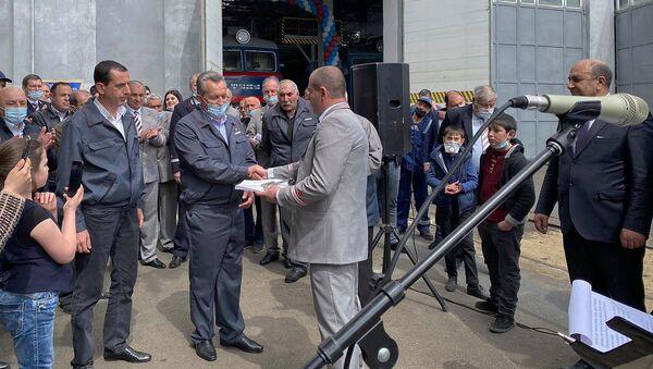 Церемония присвоения имени Амбарцума Кандиляна электропоезду (9 апреля 2021). Гюмри - Sputnik Արմենիա