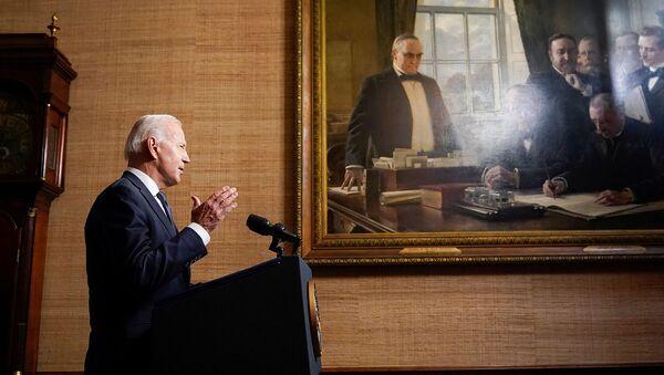 Президент США Джо Байден выступает с речью о своем плане вывода американских войск из Афганистана (14 апреля 2021). Вашингтон - Sputnik Армения