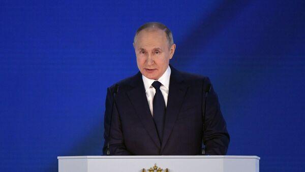 Президент РФ Владимир Путин выступает с ежегодным посланием Федеральному Собранию - Sputnik Армения